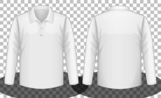 camisa pólo branca de mangas compridas frente e verso vetor