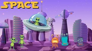 alienígena na cena do espaço vetor