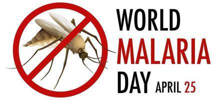 logotipo do dia mundial da malária ou banner com sinal de mosquito vetor
