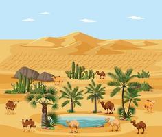 oásis no deserto com palmeiras e paisagem de camelos vetor