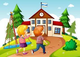 crianças na cena escolar vetor