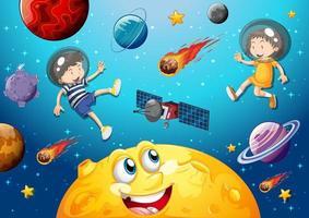 lua com rosto feliz no fundo do tema da galáxia espacial vetor