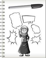 garota muçulmana pensando com forma de doodle em notebook em fundo branco vetor
