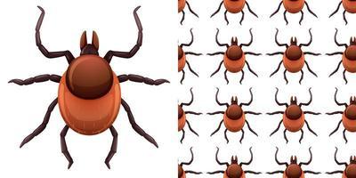 insetos pulgas isolados no fundo branco e sem costura vetor