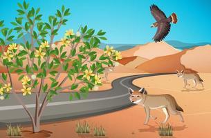 paisagem de deserto selvagem em cena diurna vetor