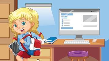 uma garota está na sala com o fundo do computador