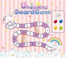 jogo de tabuleiro para crianças em modelo de cor pastel de unicórnio vetor