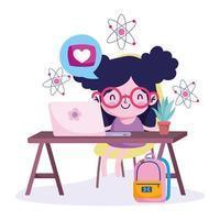 menina com laptop estudando em casa vetor