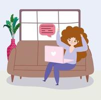 mulher com laptop no sofá vetor