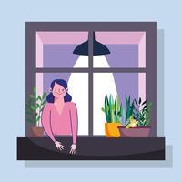 mulher olhando para a janela com a fachada do prédio vetor