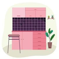 parede de azulejos na cozinha vetor