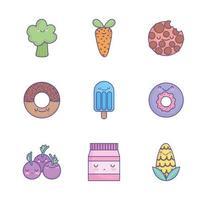 conjunto de ícones de comida bonito dos desenhos animados vetor