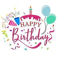 feliz aniversário bolo tipografia vetor