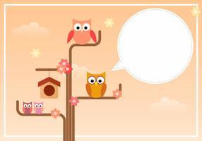 Coruja Família que está no ramo de árvore vetor