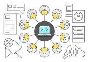 Jogo de ícones de conexão do negócio do empregado vetor