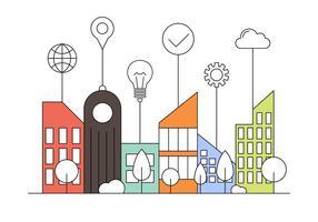 Livre de Ilustração Smart City Plano vetor