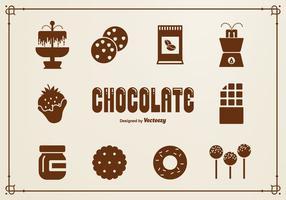 Chocolate silhueta ícones do vetor
