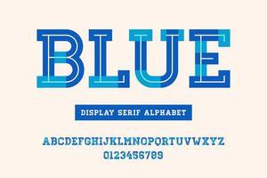 alfabeto serif geométrico em negrito azul vetor
