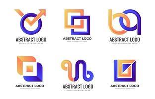 coleção de logotipo abstrato laranja e azul vetor