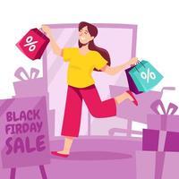 mulher feliz comprando na liquidação de sexta-feira negra vetor