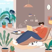 trabalhar em casa conceito de design vetor