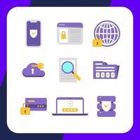 coleção simples de ícones de segurança cibernética vetor