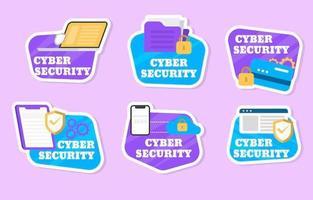 coleção de adesivos de segurança cibernética moderna vetor