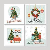 cartões de natal com letras vetor