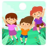crianças coloridas e felizes brincando ao ar livre vetor