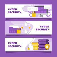 coleção simples de banners do dia da segurança cibernética vetor