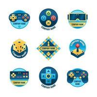 conjunto de logotipo de jogo gradiente colorido vetor