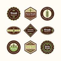 conjunto de logotipo vintage de produto natural fresco de fazenda vetor
