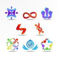 Conjunto de conceito de logotipo de trabalho em equipe colorido vetor