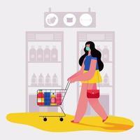 uma mulher fazendo compras no supermercado vetor
