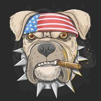 cão pit bull com bandana de bandeira americana vetor