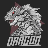 cabeça de dragão em prata vetor
