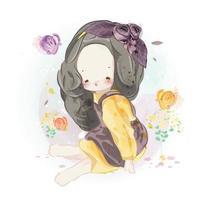 mão desenhada linda garota sentada com flores vetor