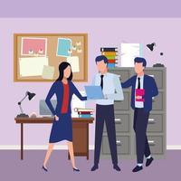 colegas de trabalho no escritório com suprimentos vetor