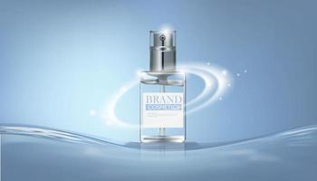 frasco de perfume cosmético em água azul
