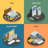 conjunto de método de pagamento isométrico
