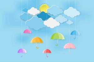 conceito de temporada de monções feliz com guarda-chuvas coloridos vetor