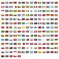 bandeiras retangulares arredondadas da coleção mundial vetor