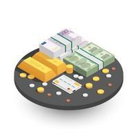 composição isométrica de métodos de pagamento vetor