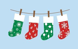 conjunto de meias de natal vetor