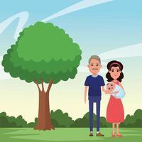 retrato de família ao ar livre