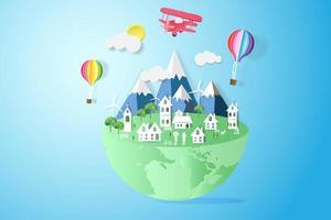 ecologia e conceito ambiental com balões de ar quente vetor