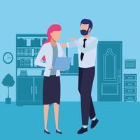 parceiros de negócios conversando com laptop vetor