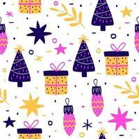 padrão colorido desenhado à mão natal vetor