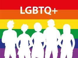 silhueta de pessoas com fundo de arco-íris