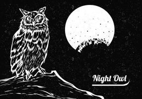 Mão tirada de preto e branco da coruja com a lua vetor